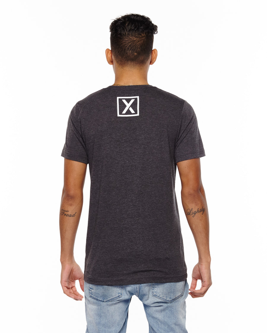 xactly.find.your.journey.graphic.dark.grey.heather.logo.unisex.jersey.poly.short.sleeve.tshirt.