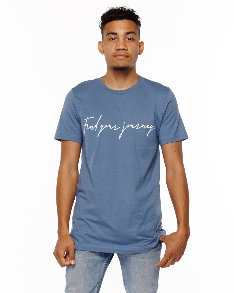 xactly.find.your.journey.graphic.steel.blue.logo.unisex.jersey.poly.short.sleeve.tshirt.