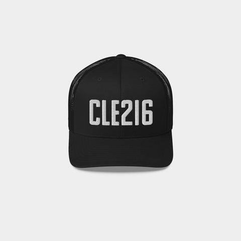 CLE216 Retro Trucker Hat, Black