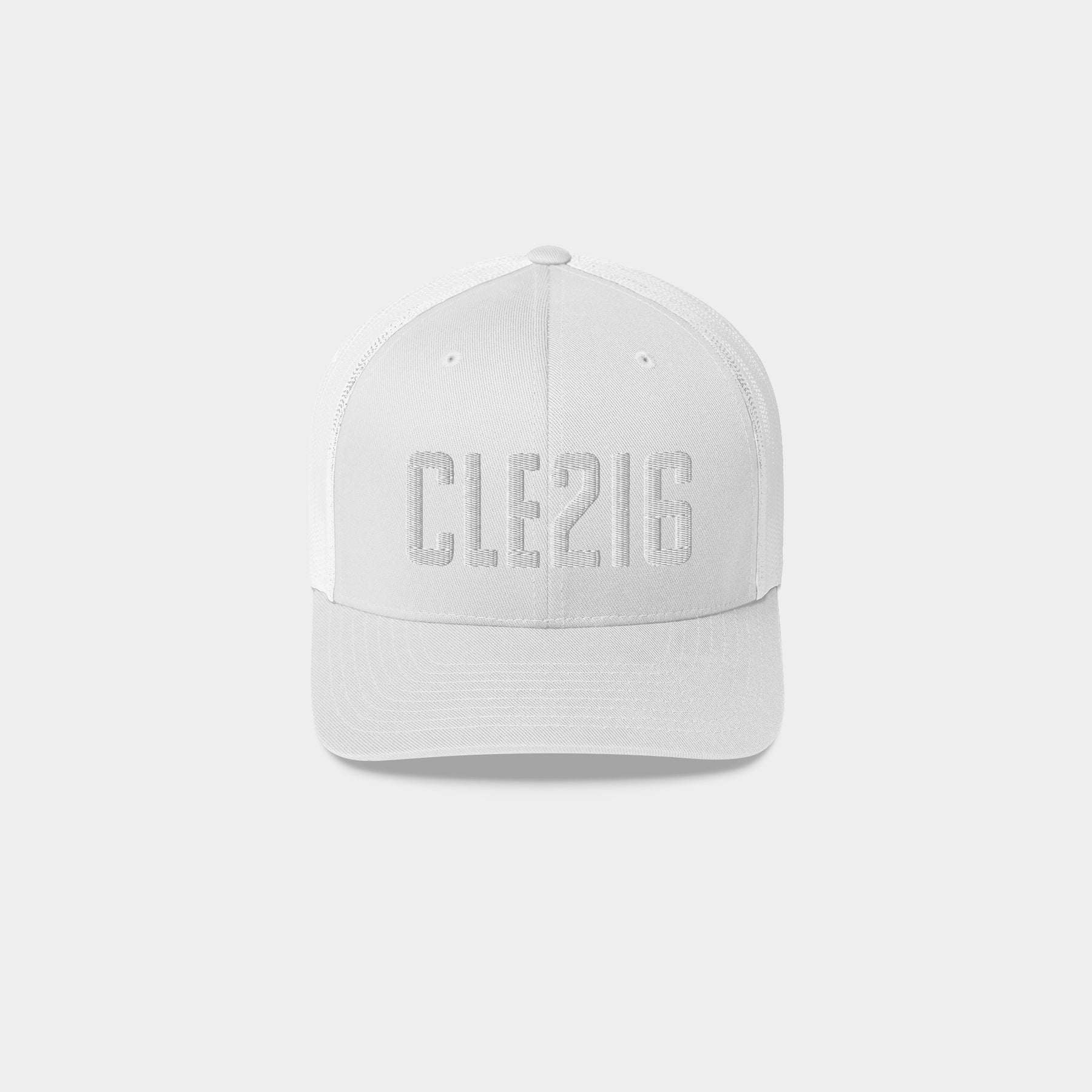 CLE216 Retro Trucker Hat, White
