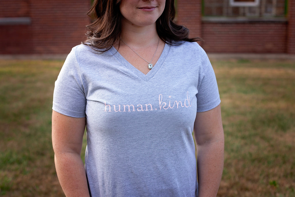 Women's Human.Kind Tee (Gray V-Neck) - $15.99