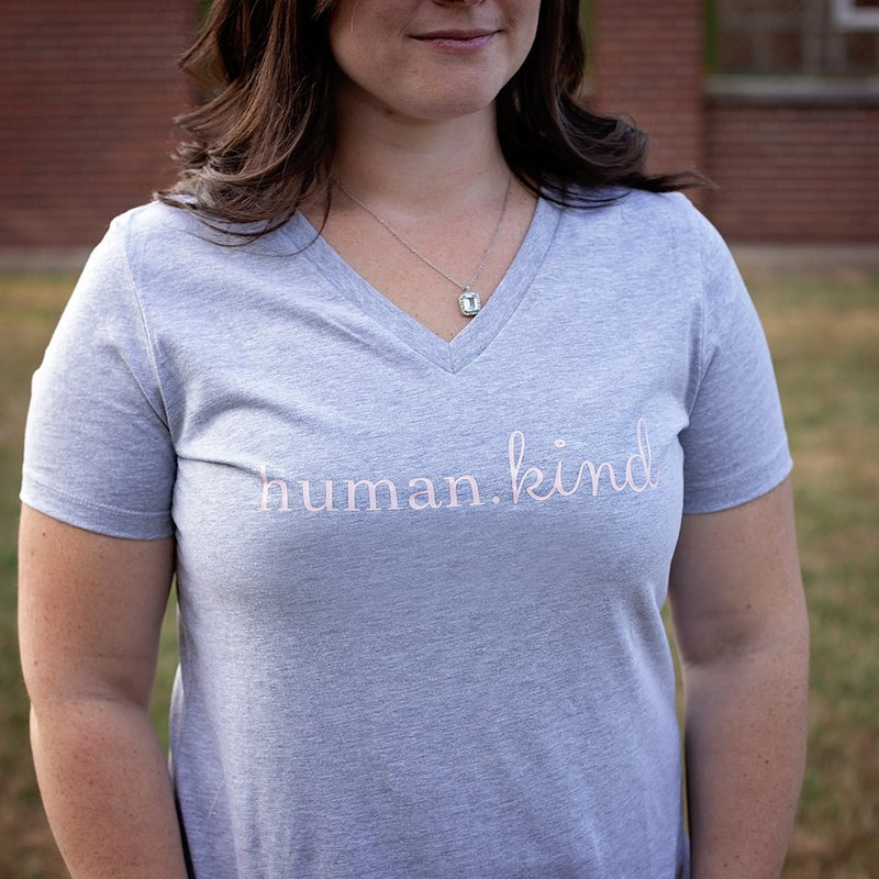 Women's Human.Kind Tee (Gray V-Neck)