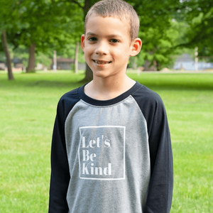 Let's Be Kind Raglan - Gray