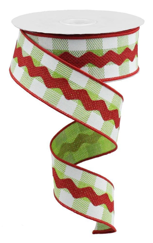 1.5in x 10yd - Lime White Red RicRac Ribbon