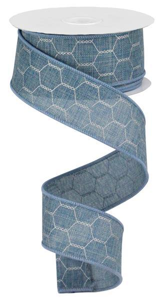 1.5in x 10yd - Denim Silver Grey Chicken Wire Ribbon
