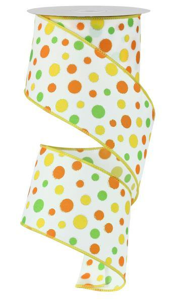 2.5in x10yd - Multi Dots w/Glitter - Orange/Yellow/Lime/White
