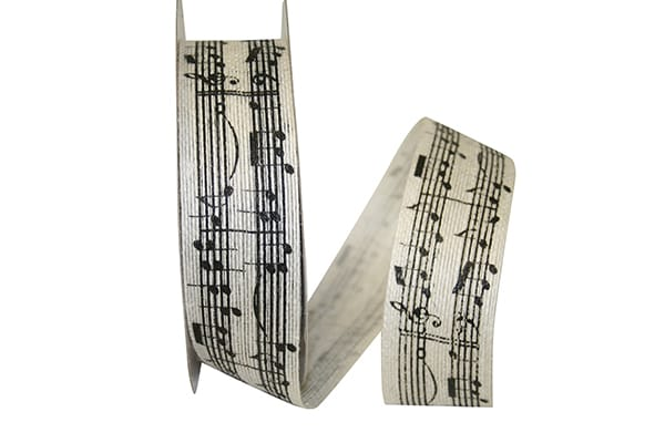 "1.5""x20yd Sheet Music - Ivory/Black"