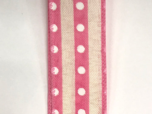 "1.5""x10yd Studded Stripes - Pink/Natural/White"