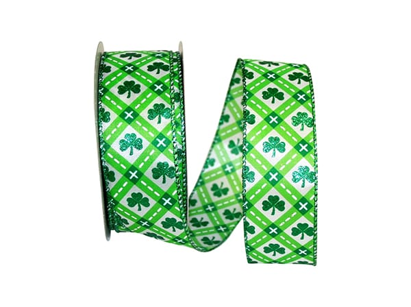 "1.5""x25yd Clover Comfort - Lime/white/green"