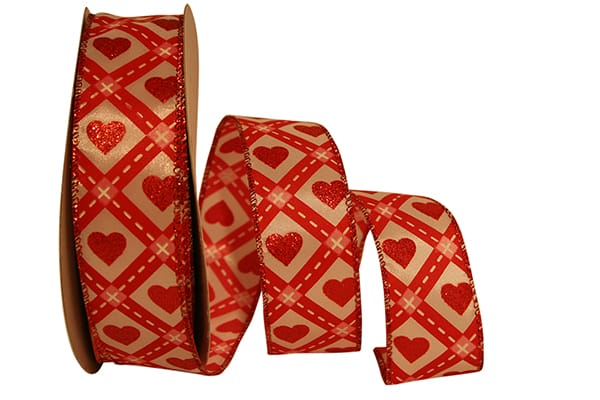 "1.5""x25yd Road To My Heart - Red/Gold"