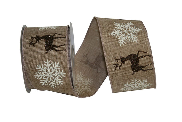 "2.5""x10yd Reindeer Linen Flake - Natural/Ivory/Brown"