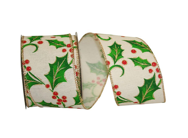 "2.5""x10yd Holly Ribbon - Ivory/Red/Green/Gold"