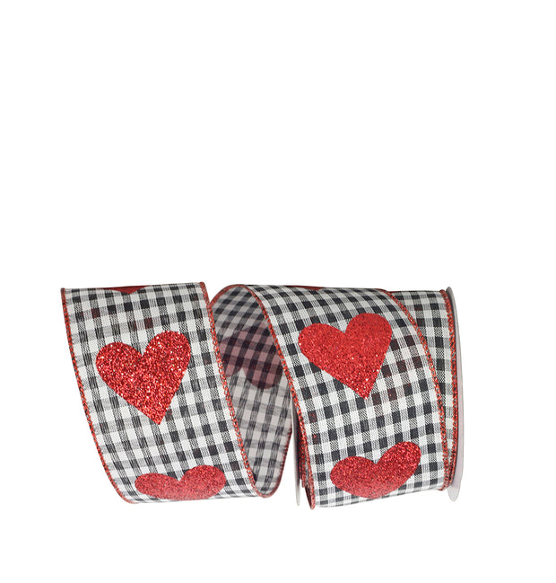 "2.5""x10yd Heart Glitter on Check - Black/Red/White"