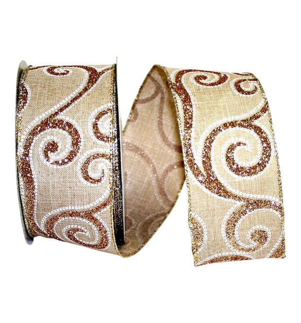 "2.5""x20yd Linen Glitter Scroll - Natural/Gold"