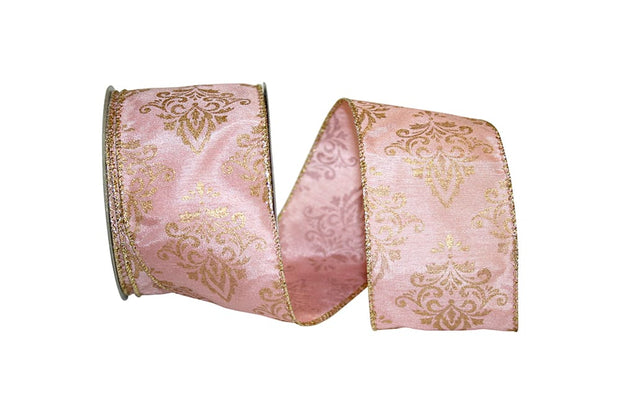 "2.5""x10yd Victorian Scroll - Pink/Gold"