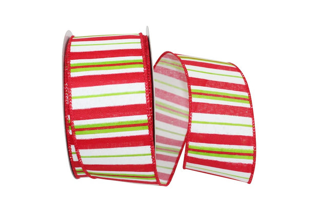 "2.5""x10yd Holiday Stripe - Red/White/Lime"
