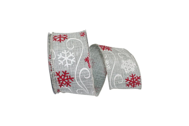 "2.5""x10yd Fashion Snowflake - Silver/White/Red"