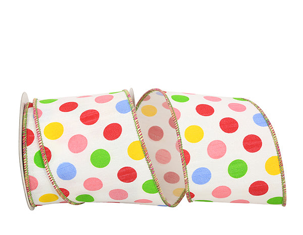 "4""x10yd Giant Dupioni Primary Dots - Multi"
