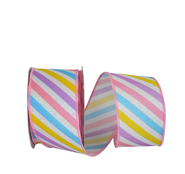"2.5""x10yd Pastel Stripe Diagonal - Multi"