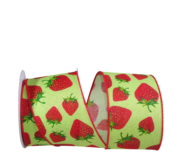 "2.5""x10yd Strawberry on Linen - Red/Lime"