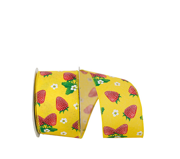 "2.5""x10yd Strawberry & Blossoms - Yellow/Red"