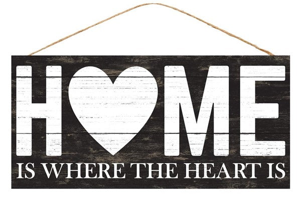 "12.5""Lx6""H Home is Where the Heart Is - Black/White"
