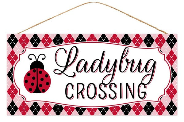 "12.5""Lx6""H Lady Bug Crossing - Black/Yellow/Red"