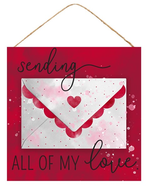 "10""Sq Sending All My Love Sign - Red/White/Pink"