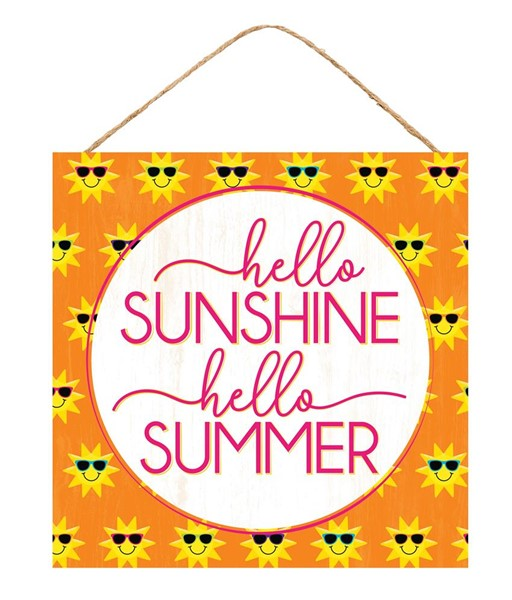 "10"" Square - Hello Sunshine - Yellow/Orange/White Sign"