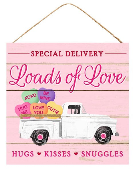 "10"" Square - Loads of Love/Hearts/Truck Sign"