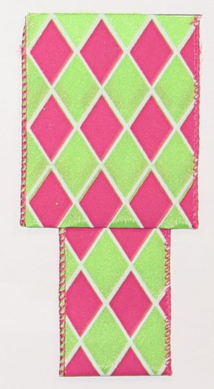 "2.5""x15 yds Diamond - Lime/Fuschia"