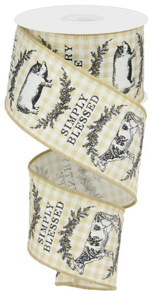 2.5in x 10yd - Farmhouse Animals Check Ribbon