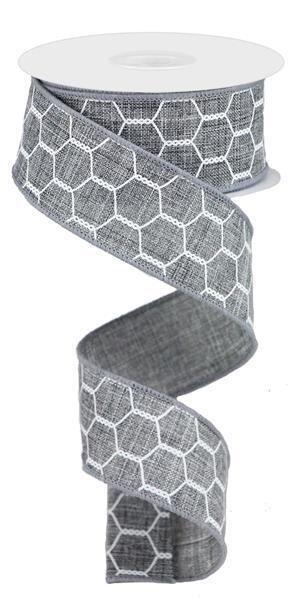 1.5in x 10yd - Grey White Chicken Wire Ribbon