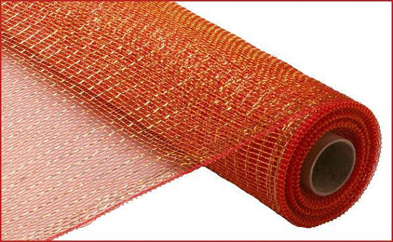 "21""x10yd Deco Mesh - Red-Gold"