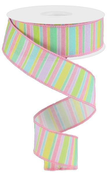 1.5in x10yd - Horizontal Stripe On Royal Ribbon - Pastel Multi Color