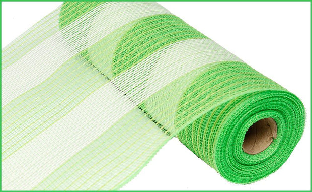 10in x 10yd - Poly Faux Jute Stripe Mesh - Lime/Cream