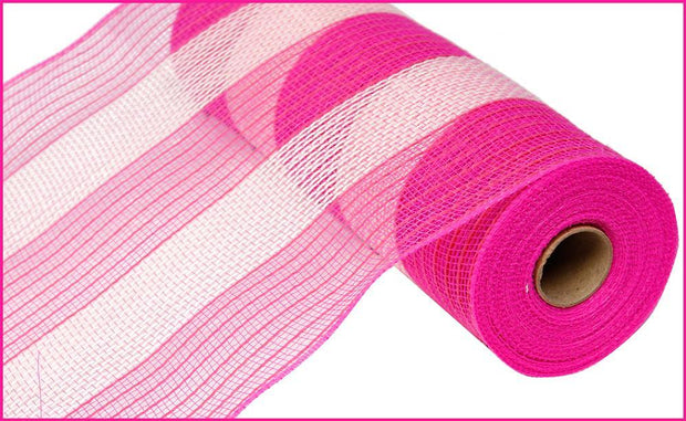 10in x 10yd - Poly Faux Jute Stripe Mesh - Pink/Cream