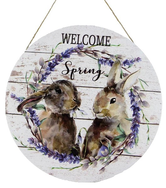 "12""Dia Welcome Spring Rabbits"