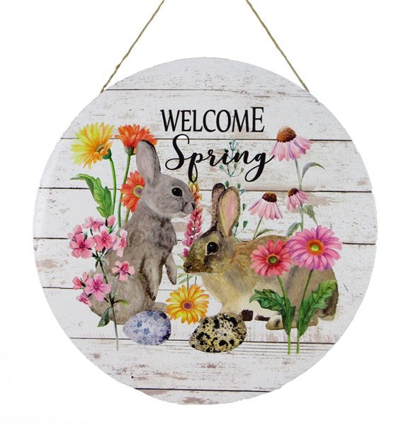 "12""Dia Welcome Spring Rabbits w/Flowers"