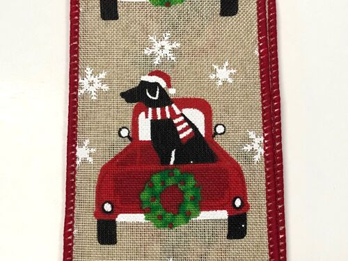 "2.5""x10yd  Christmas Truck w/Dog"
