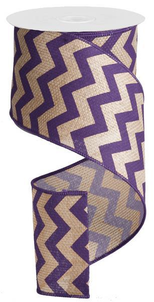 2.5in x 10yd Purple Chevron on Natural