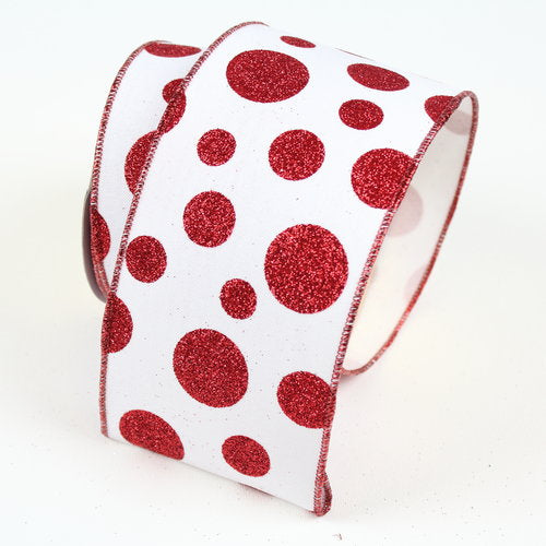 "2.5""x10yd Christmas-Glitter Random Dots - Red/White"