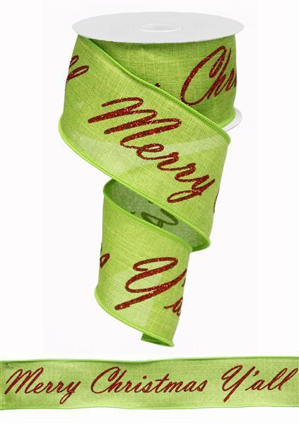 "2.5""x10yd Merry Xmas Y'all w/22 repeats - Lime/Red"