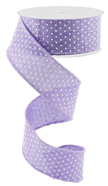1.5in x 10yd - Lavender Raised Swiss Dots on Royal Ribbon