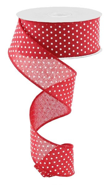 "1.5""x10yd Raised Swiss Dots on Royal - Red/White"