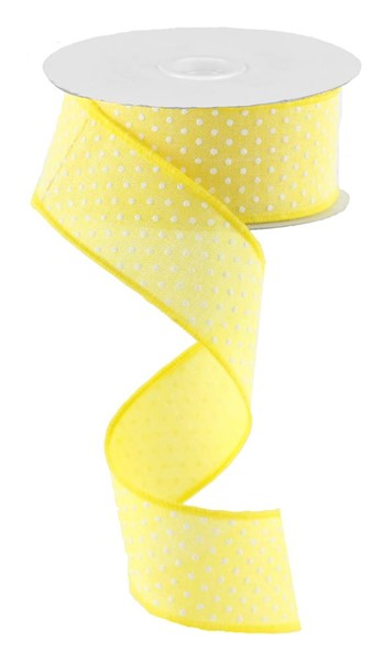 "1.5""x10yd Raised Swiss Dots on Royal - Yellow/White"