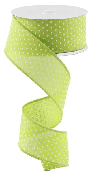 "1.5""x10yd Raised Swiss Dots on Royal - Lime/White"