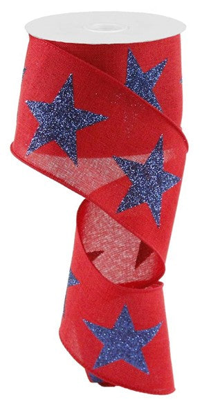 "2.5""x10yd Bold Star on Royal - Red/Navy"