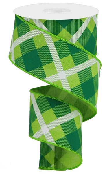 2.5in Green/White Plaid Ribbon