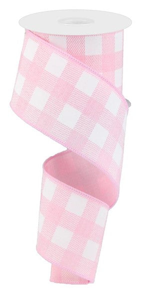 "2.5"" X 10yd Light Pink/White Striped Check On Royal"